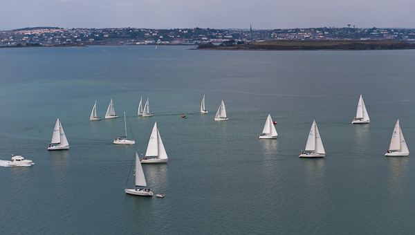 And they're off! The cruisers heading for No. 3 while the 1720 fleet await a start for a race to Monkstown for the commencement  of Monkstown's  April League tomorrow (Sun). Picture Robert Bateman