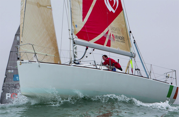 The fleet met 35 to 40 knot winds and with some three to four hours to the finish at  Sable d'Olonne Kenefick is well up in the rookie fleet. Pic: Grange@audialog.com