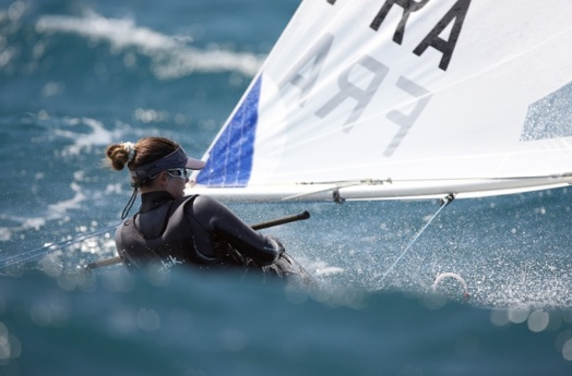Picture shows a Laser Radial enjoying the fabulous conditions at Hyeres today with the arrival of the Mistral