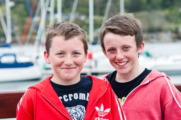 Twins Johnny and Harry Durcan who will vie with one another for top spot tomorrow in the finale l of the Optimist  Trials.  Picture Robert Bateman