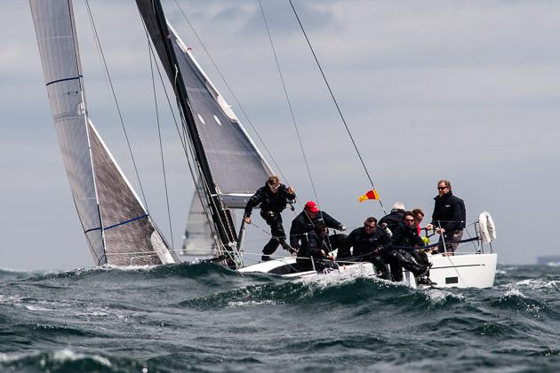 Big seas for the Class 0/1 fleets today. Picture Robert Bateman