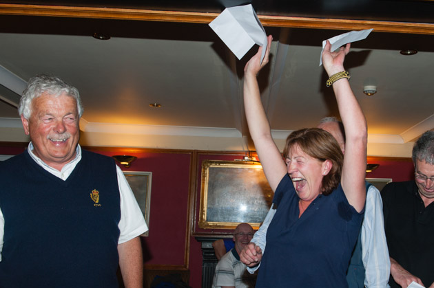 Joy unbridled as Angela Hanley of Lady T celebrates winning the Marine Motors Outboard engine. Picture Robert Bateman