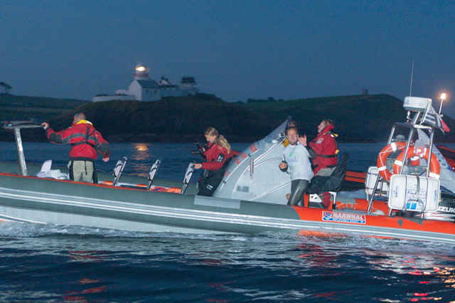 Passing Roche's Point with the support boat and crew. Picture Robert Bateman