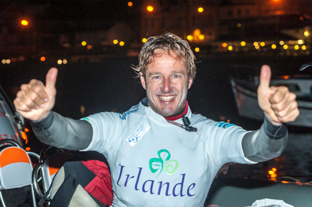 A triumphant Bruno Sroka on arrival at the Royal Cork Yacht Club having successfully completed his Kitesurf from Brittany to Crosshaven. Picture Robert Bateman