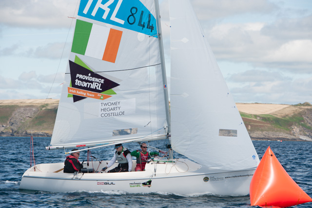 ISDS President, John Twomey competing in the practice race at Kinsale today picture Robert Bateman