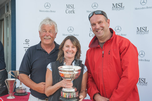 Admiral Peter Deasy, Liz O'Brien of Magnet, Class 2 Winner, and MSL Motor Group General Manager Declan O'Hara. Picture Robert Bateman