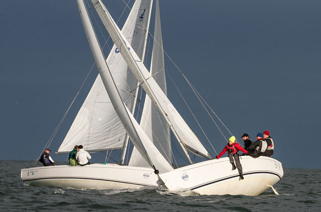 Séafra Guilfoyle and crew on port tack during racing  at the ISA Championships. Picture Aidan Tarbett.