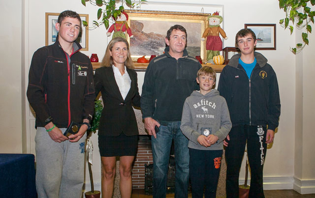 At the ISA Championship prizegiving are: L. to R. Séafra Guilefoyle, RCYC, Laura Dillon, ISA, Nick Walsh RCYC, Patrick Crosbie RCYC and in front Dylan O'Grady HYC. Picture Aidan Tarbett