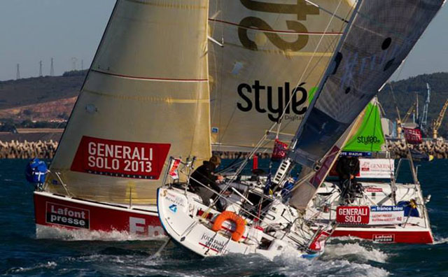 David Kenefick's Full Irish on port tack during the inshore racing at Generali Solo. Pic Alexis Courcoux