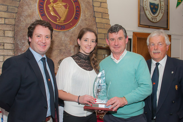 Julianne McDonnell presenting the Martin McDonnell Trophy to Mark Reardon of Eilie watched by Rear Admiral Keel boats Ronan Enright and Admiral Peter Deasy. Pic Robert Bateman