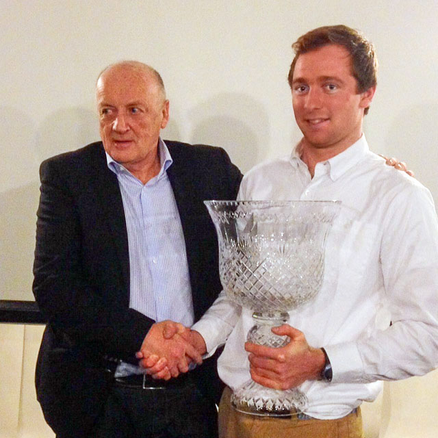 Commodore Norbert Reilly presentiing David Kenefick with the ICRA Boat of the Year Award.  Photo ICRA