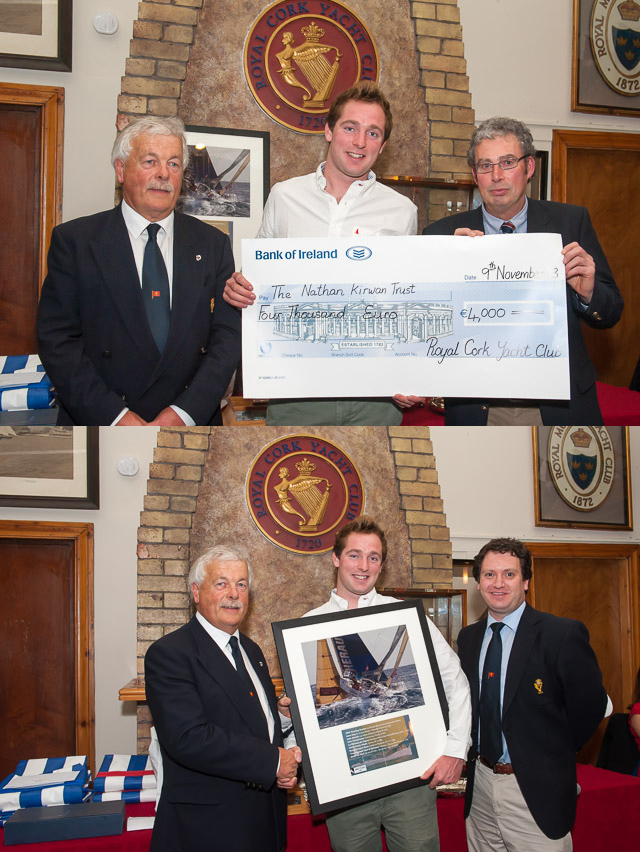 Cheque presentation for  the Nathan Kirwan Trust. Included Admiral Peter Deasy, David Kenefick and Frank Desmond. Bottom Picture David Kenefick presents a framed picture to the club. Included are Admiral Peter Deasy and Rear Admiral Keelboats Ronan Enright
