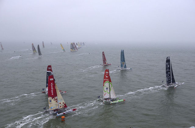 Start of the Transat Jacques Vabre from Le Harvre on November 7, 2013.  Photo Jean Marie Liot
