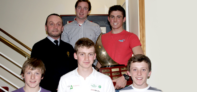 Darren O'Keeffe, Rear Admiral Dinghies and David Kenefick with the Junior Laying Up prizegiving winners 2013