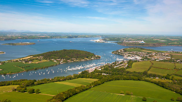 Aerial view of Cork Harbour with Royal Cork Yacht Club  and marina in foreground. Photo Robert Bateman