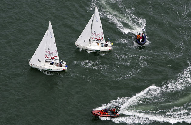 A Birds eye view of match racing at the 2006 ISAF Nations Cup Grand Final. File Pic. Robert Bateman