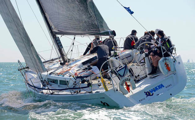 Quokka, a 43ft Grand Soleil seen here sailing for the Hong Kong Team in the 2012 Commodore's Cup. Pic RORC
