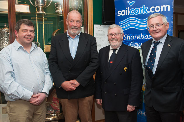 L. to R. Commodore Adrian Tyler, Cove Sailing Club, Eddie English, Sailcork, Royal Cork Admiral Pat Lyons, and Commodore Liam O'Rourke, Royal St.George Yacht Club. Picture Robert Bateman.