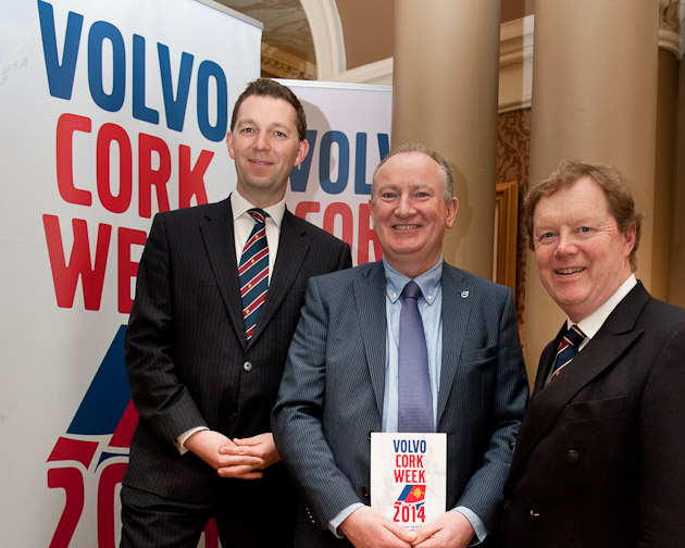 Pictured at the launch of Volvo Cork Week 2014 were L.. to R. Gavin  Deane, General Manager RCYC, Adrian Yeates, Managing Direcctor Volvo Cars Ireland Ltd., and John Roche, Chairman Volvo Cork Week 2014.  Picture Robert Bateman