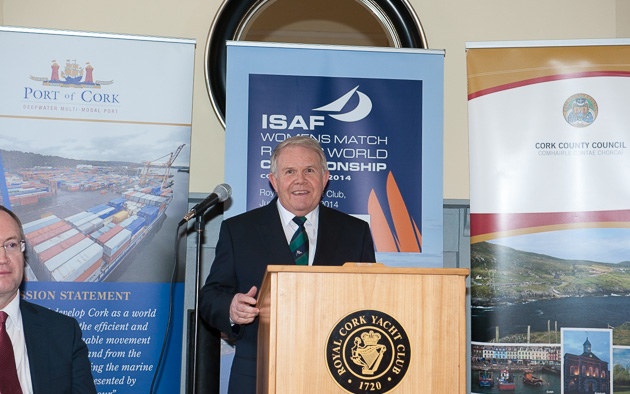 Newly elected President of the Irish Sailing Association, David Luvgrove, speaking at to-day's Launch. Picture Robert Bateman