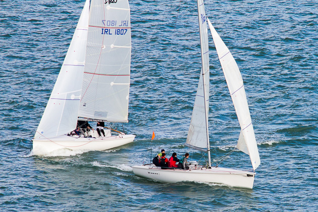 A demonstration of Match Racing at to-day's Launch. Picture Robert Bateman