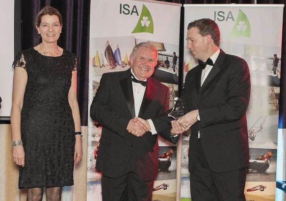 Newly elected ISA President, David Lovegrove, presents the award to RCYC General Manager Gavin Deane and Miriam McMahon. Picture Aidan Tarbett