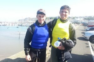 Cian Byrne & Seafra Guilfoyle as they came ashore last Sunday at the ISA Junior National Championship in Howth