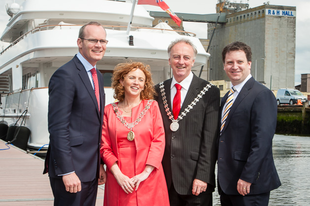 Pictured at today's announcement of WIM Match Racing  at Albert Quay, Cork June 6th, 2014. L. to R Simon Coveney, Minister for Agriculture, Food and Marine, Deputy Lord Mayor of Cork Lorraine Kingston, Mayor of the County of Cork Noel O'Connor and Event Chairman Ronan Enright. Picture Robert Bateman
