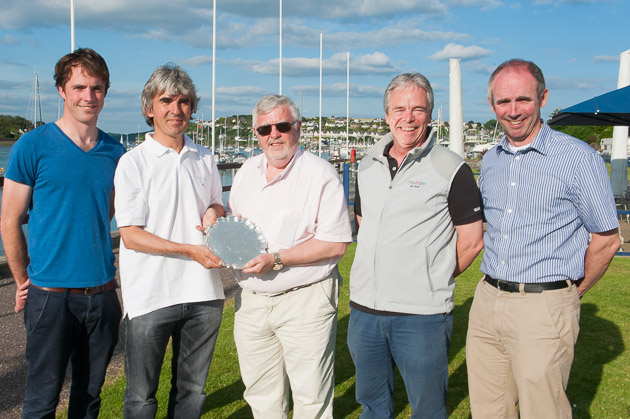 Picture shows the   victorious skippers from The Irish Nationals handing over the ICRA Team Trophy prize to Royal Cork Admiral Pat Lyons.  Picture Robert Bateman