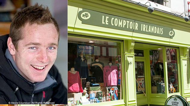 Picture shows the Pontivy store of Le Comptoir Irlandaise. Inset David Kenefick. Picture Alexis Courcoux/Robert Bateman