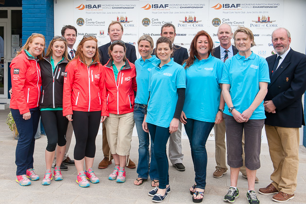 Royal Cork's Vice Admiral, John Roche, and members of the Executive Committee pictured with the two Irish Teams  and Skippers  Mary O'Laughlin and Laura Dillon. Picture  Robert Bateman