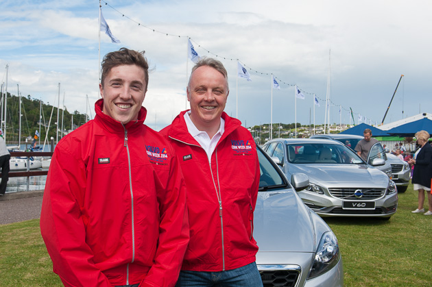 David and Mark Whitaker with a selection of Volvo cars in the background. Pic. Robert Bateman