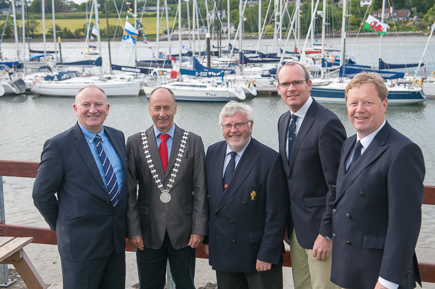 L. to R. Adrian Yeates, Managing Director Volvo Car Ireland, Mayor of Cork County  Alan Coleman, Admiral Pat Lyons, Minister SImon Coveney and Vice Admiral John Roche. Pic. Robert Bateman