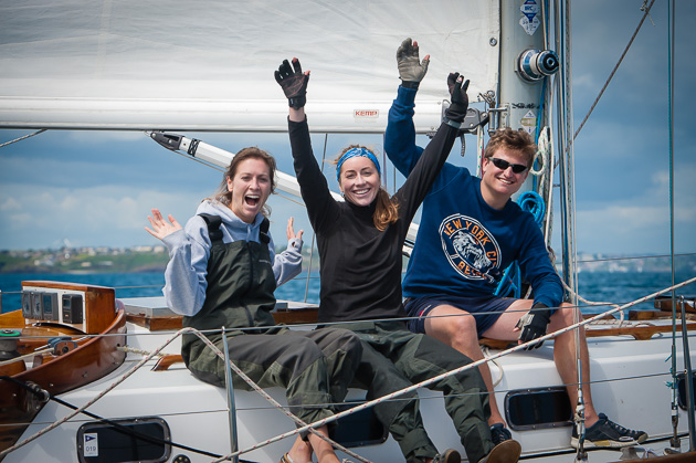 These crew members from 'Carte Blanch of Helford' sum up the spirit of Volvo Cork Week 2014. Picture Robert Bateman