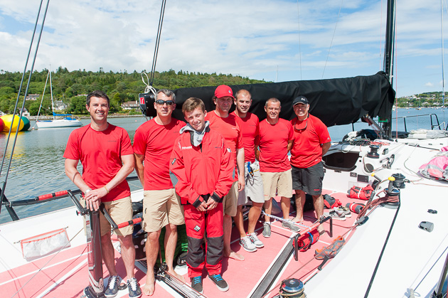 Crew of Catapult missing two but including 14 year old Harry Durcan who will represent RCYC at the Optimist Worlds this summer. Picture Robert Bateman