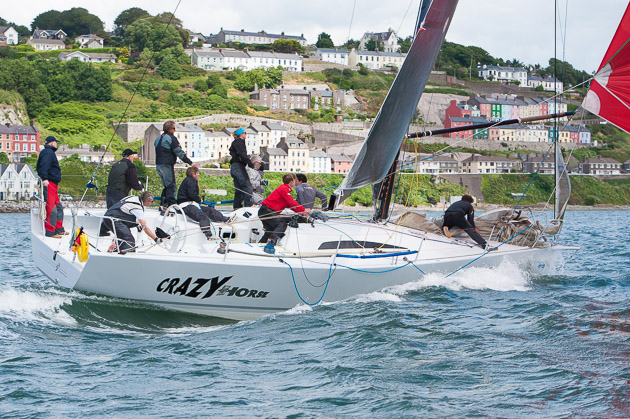 ICRA Commodore, Norbert Reilly, gets a bit nose down with a gust off Cobh. Picture Robert Bateman