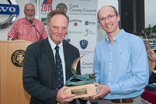 Michael Boyd receiving the Hugh Coveney Trophy from Andrew Coveney. Picture Robert Bateman