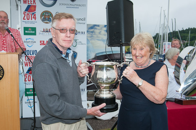 Tom McNeice receiving the Sisk Corinthian Cup from Lady Admiral Ann Lyons. Picture Robert Bateman