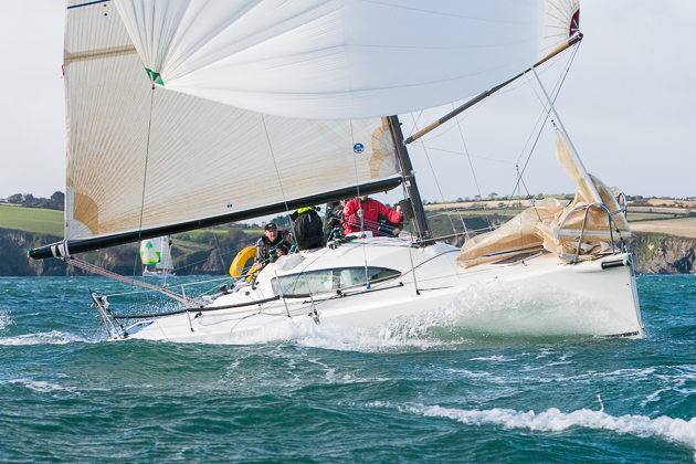 Michael Murphy's  JPK9.60 Alchimiste sailing in the two handed class and is another welcome return visitor to Cork Harbour. Picture Robert Bateman