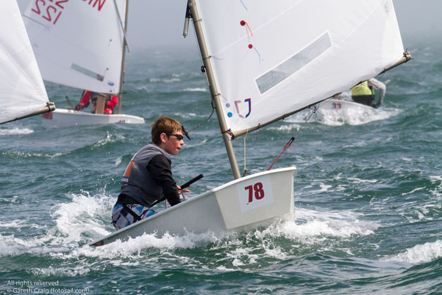 James McCann sailing in Race 8 today at the Optimist European Championships on Diublin Bay. Pic Gareth Craig