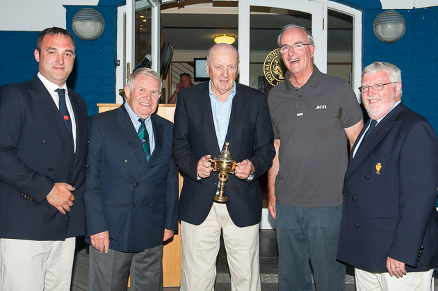 Rear Admiral Keelboats, Kieran O'Connell, President ISA David Lovegrove, ICRA Commodore Norbert Reilly, Anthony O'Leary, Irish Team Captain and Admiral Pat Lyons. Photograph Robert Bateman