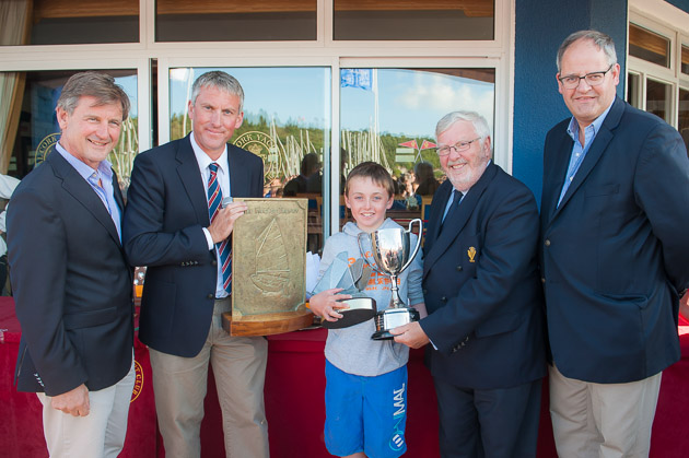 L. to R. Nicholas Bendon CH Marine, Principal Sponsor, Rob Foster, Class Captain, Michael Ó Suilleabhán KYC, National   Junior and Open Champion, Admiral Pat Lyons and IODAI President, Aidan Staunton. Pic Robert Bateman