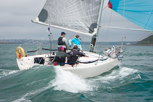 Deirdre and Paul Tingle's 'Alpaca' revelling in the conditions at the At Home Regatta. Pic Robert Bateman