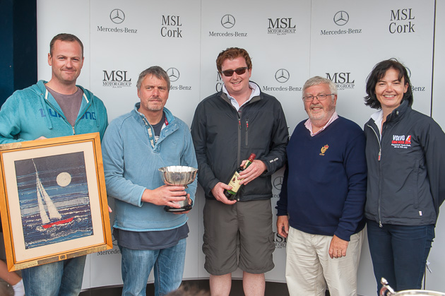 Colin Chapman, Martin Almond, and Rob O'Reilly, winners of the National South Coast Championship with Admiral Pat LYons and Rear Admiral Dinghies Celine McGrath. Pic Robert Bateman