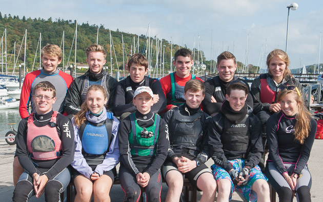 The combined Sutton DC and Royal Cork YC.  Sutton: Shane McLoughlin, Calumn Maher, Daniel Johnston, Sinéad Dixon, David Gill and Conor Twohig.  Royal Cork: Thomas McGrath, Grattan Roberts, Jill McGinley, Jamie Tingle, Suzi Fitzpatrick and Rebecca O'Shaughnessy. Pic Robert Bateman