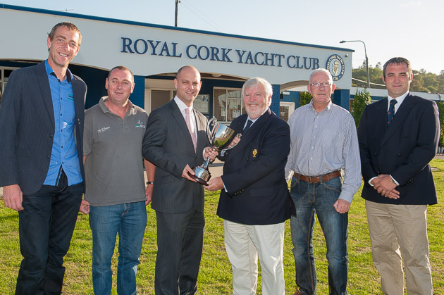 Crew from Yanks and Franks presenting the Admiral with the Vinny O Shea Perpetual Trophy for the boat of the Month for the autumn series.