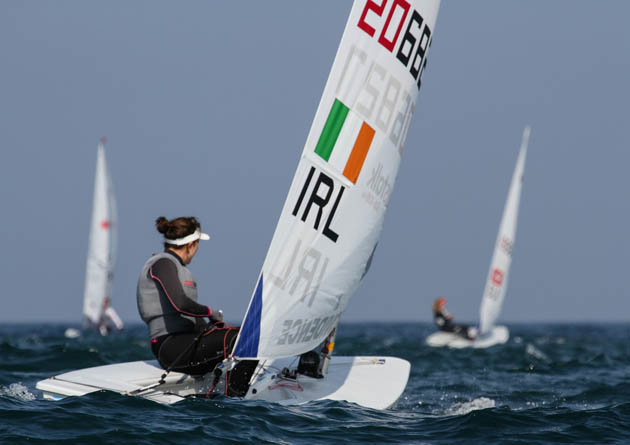Annalise Murphy sailing in the light wind conditions  at Santander today. Pic. ISAF