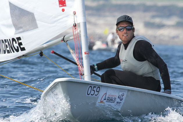 James Espey in action on Day One of the ISAF sailiing world championships at Santander. Pic ISAF