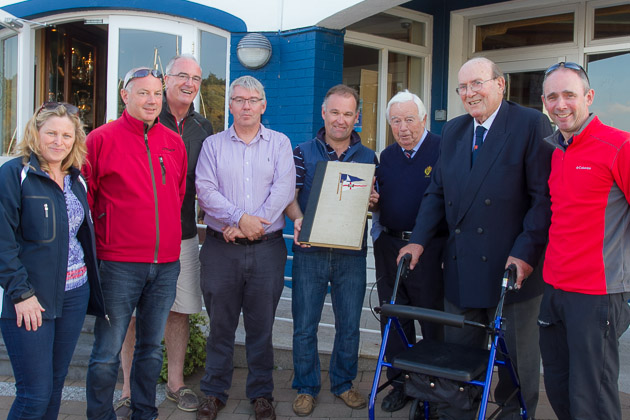 Group of  Royal Cork Members who previously competed at the Sutton Book photographed with Wendy Rudd of Sutton DC and Andy Johnston, Sutton Commodore.  RCYC L. to R. Stephen O'Shaughnessy, Anthoy O'Leary, Tom Crosbie, T.E. Crosbie,  Archie O'Leary and Paul Tingle. Pic Robert Bateman