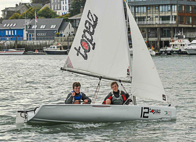 ISA All Ireland Champion Harry Durcan with his crew Harry Whitaker,  at the close of the competition at Kinsale Yacht Club on Sunday. Pic John Allen